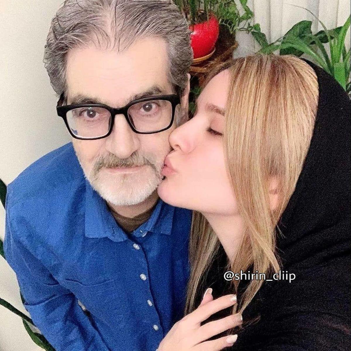 بوسه عاشقانه متین ستوده برو صورت یک مرد + عکس
