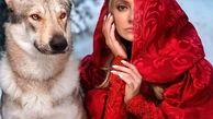 عکس تبلیغاتی مهناز افشار با لباس قرمز و سگی وحشتناک ! +عکس