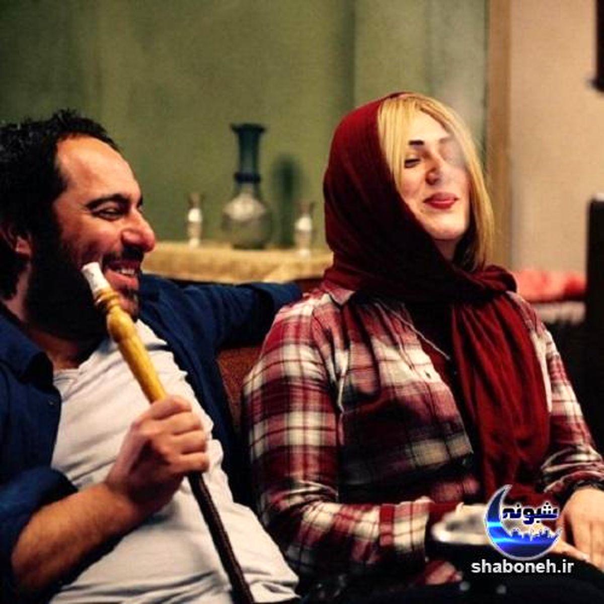 سیگار کشیدن باران کوثری در آغوش محسن کیایی ! + عکس