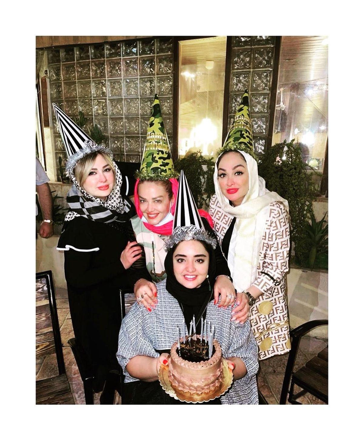 سوپرایز جشن تولد نرگس محمدی توسط بهاره رهنما و نیوشا ضیغمی +عکس