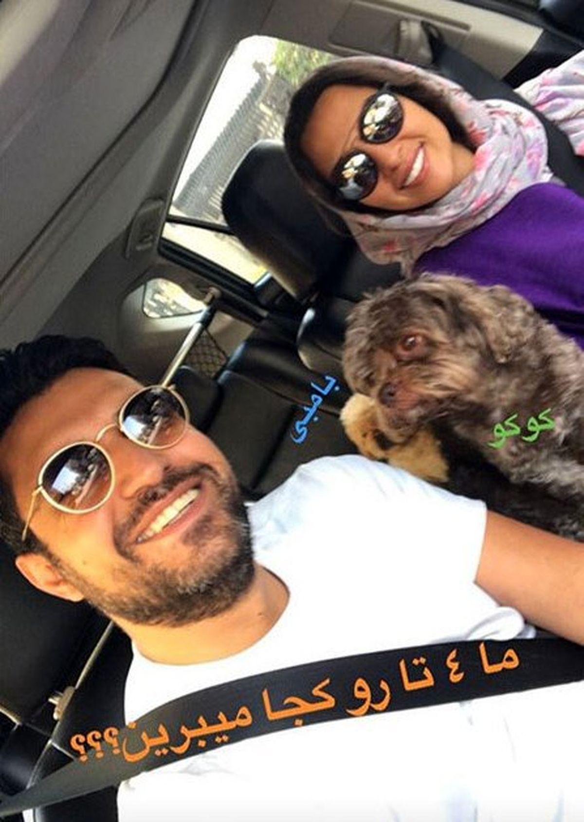 دور دورِ عجیب آناهیتا درگاهی با سگ هایش در ماشین + عکس