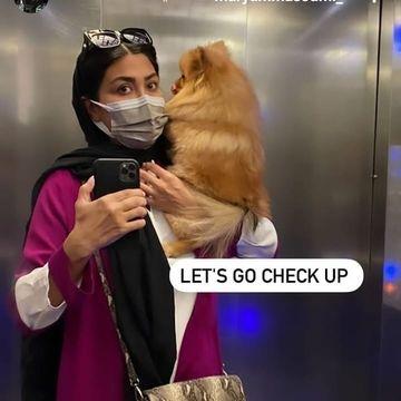 مریم معصومی و سگ لاکچری اش در آسانسور + عکس
