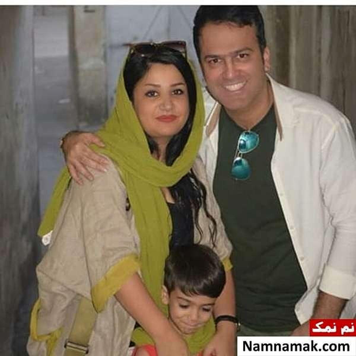 لباس یقه باز و ناجور همسر حامد آهنگی در آغوشش + عکس