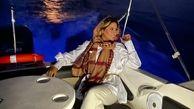 شلوار منشوری همسر بابک جهانبخش در کشتی/ لباس منشوری جنجالی شد+ عکس